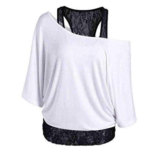 Deux Faux Dentelle La souris Manches Blanc Femme Piqûre Pièces shirt Mode Été Chic T Courtes Sling Chauve De Adeshop À x0Avaq8a