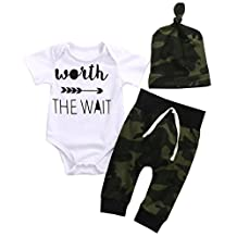 3PCS Newborn Baby Boys Cute Letter Print Romper+Camouflage Pants+Hat Outfits Set