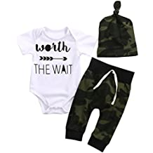 Mrs.Baker'Home 3PCS Newborn Baby Boys Cute Letter Print Romper+Camouflage Pants+Hat Outfits Set