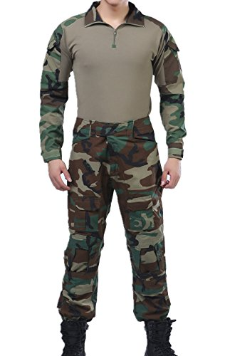 US Army Woodland Camo Tactics BDU Combat Shirts Top Pant Uniform Sets Ripstop Camo Bdu Set Pants Shirt