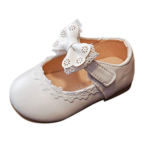 Lelili Spring and Summer Kids Girls Cute Lace Bow Soft Sole Toddler Shoes Girls Single Shoes Small Shoes White