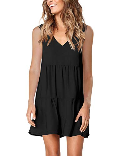 - Amoretu Women's Summer Casual T Shirt Dresses Beach Cover up Pleated Tank Dress Black M