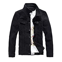 Men`s Classic Slim Fit Motorcycle Denim Jacket Coat