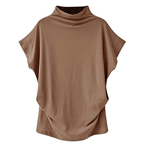 Basic Tops for Women, 2019 New Elegant Turtleneck Short Sleeve Cotton Casual Blouse Plus Size Solid Tunic Top(Brown,5XL)