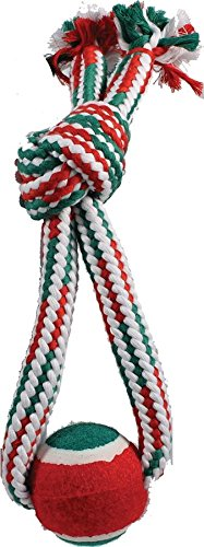 Ethical Christmas 58431 689842 Holiday Crinkle Rope with Tennis Ball Tug Dog Toy, Red/Green, 13