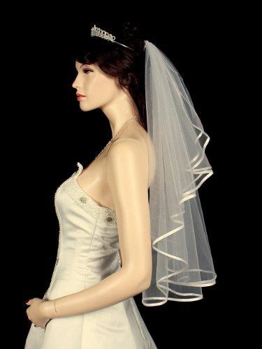 "1T 1 Tier Ribbon Edge Center Cascade Bridal Wedding Veil - Ivory Elbow Length 28"""