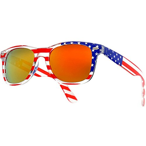 Patriotic USA American Flag Retro Classic Sunglasses USA Glasses (Style 5, - Hut Sunglasses America