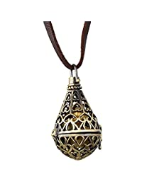 Oidea Mens Womens Vintage Copper Tone Hollow Water Drop Pendant Necklace,Essential Oil Aromatherapy Locket Pendants For DIY Perfume,Valentines Gift