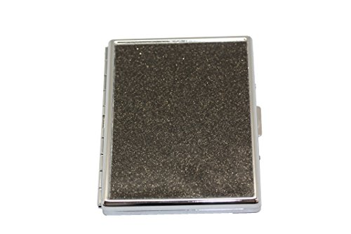 - Pewter Glitter Compact (9 100s) Metal-Plated Cigarette Case & Stash Box