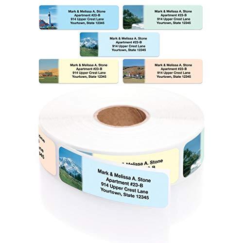 Scenic America Assorted Designer Rolled Address Labels with Elegant Plastic Dispenser ()