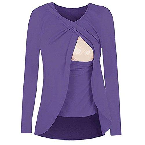 maternit Purple T Allaitement YUYOUG Manches Shirt Couche Femmes Double Hauts Mode Top Wrap Longues Blouse qntw4g6x7