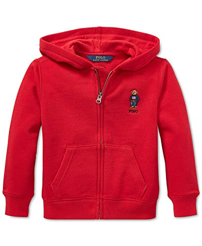 Polo Ralph Lauren Boys Fleece Hoodie Sweatshirt Bear Red