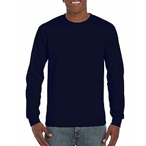 Gildan Men's Ultra Cotton Jersey Long Sleeve Tee, Navy, X-Large