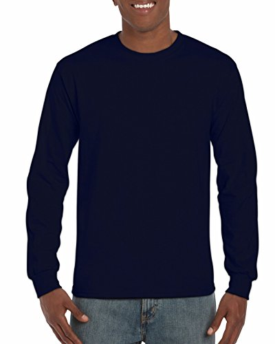 Gildan Men's Ultra Cotton Adult Long Sleeve T-Shirt, 2-Pack, Navy, X-Large