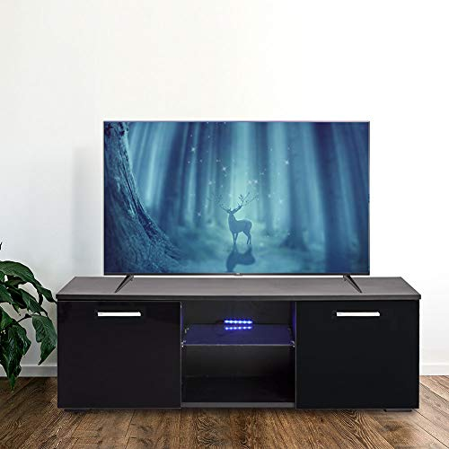 Modern LED TV Stand Media Console Cabinet Storage Entertainment Center with Drawer Open Shelves High Gloss for Living Room -47 Inch