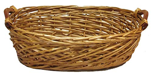Admired By Nature Split Woody Shape w/Wood Ear Handles Tray, Gift, Willow Basket, E. Oval-Honey