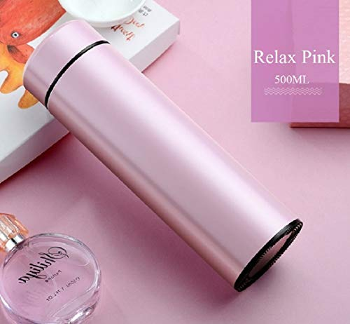 24 Hrs Heat Insulated Double Wall Vacuum flask Thermos Coffee / 17 oz (500 ml) Stainless Steel Water Bottle/Insulated Travel Mug with Tea & Coffee Filter- Relax Pink, 17 oz