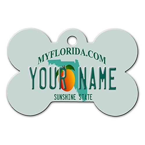 BleuReign(TM) Personalized Custom Name Florida State License Plate Bone Shaped Metal Pet ID Tag with Contact Information