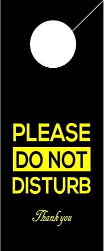 Do Not Disturb Black Sign Door Hanger - Hotel Door Hanger. (2 Pack)