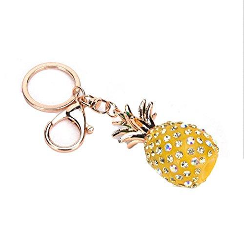 Crystal Bauble - TheFound Pineapple Key Ring Circle Round Bauble Crystal Charming Handbag Keyring Keychain (Yellow)