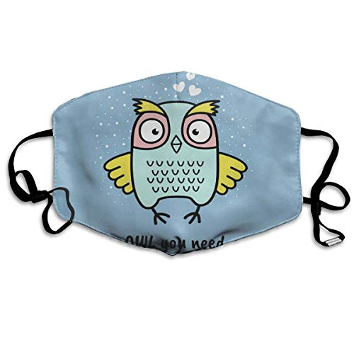 Funshiny Stylish Mask Reusable Anti Dust Face Mouth Cover Funny Owl You Need Is Love Quote Bird Mask Warm -