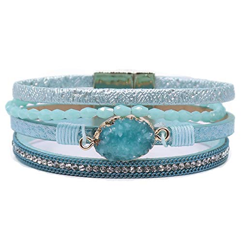 Blue Bangle Leather - KSQS Boho Multilayer Leather Wrap Bracelets Gorgeous Handmade Braided Wrap Cuff Magnetic Buckle Casual Bangle for Women&Girl Gift by UEUC