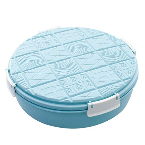Miklan Household Creative Round Chocolate Styling Compartment With Lid Candy Box-Home Snack Storage (Blue)