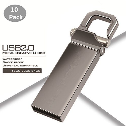 Generic 10PCS 32GB USB 2.0 Flash Drive Mini Metal USB Stick Pen Drive High Speed Pendrive USB Flash Real Capacity (32GB, Black)