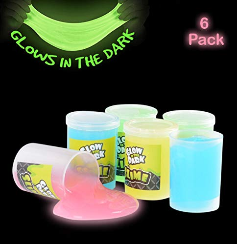 Favor Any Color - Kicko Glow in The Dark Slime - 6 Pack - Assorted Neon Colors - Great Toy for Any Child Favor, Gift, Birthday