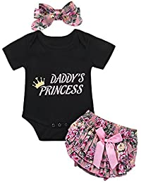 9bdc67738888 Honykids 3PCS Newborn Baby Girl Romper Jumpsuit Bodysuit +Pants  Shorts+Headband Outfit Set