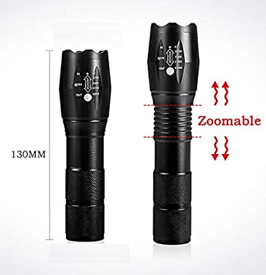 Tactical Flashlight,Super Bright 2000 Lumen LED Handheld Flashlight with Rechargeable 3.7V 9900mAh Battery & Charger,Zoomable, 5 Modes, Waterproof,Camping, Outdoor, Emergency, Everyday Flashlights