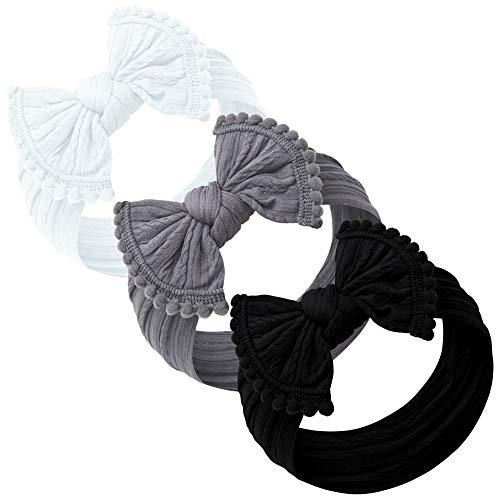 (Baby Girl Headbands and bows - Nylon Headband Fits newborn toddler infant girls pom pom (White - Gray - Black))
