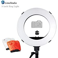 LimoStudio 14-inch Diameter Continuous Ring Light with External White, Orange Color Diffuser Cover and Camera Shoe Mounting Adapter, Beauty Facial Photo Shooting, AGG2373V2