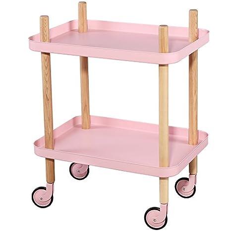 Amazon.com: Sofá mesa auxiliar con ruedas, bandeja de metal ...