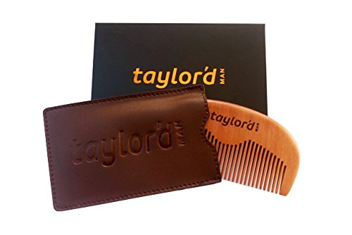 Best Superbly Hand Crafted Wooden Beard Comb With Leather Pouch Carry Case Set Gift Boxed By TAYLOR'D MAN