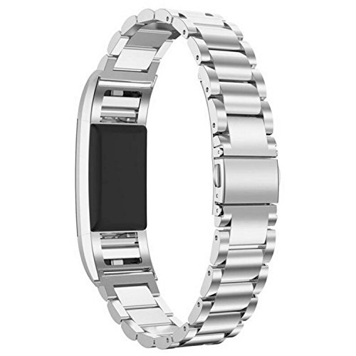 VOCOOL Replacement Silver 42mm Watchband 316L Metal Bracelet Stainless Steel Belt Folding Clasp fit for Fitbit Charge 2 Fitness Tracker Strap (Silver)