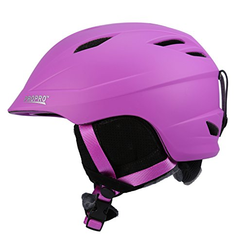 SUNVP Unisex Snowboard Racing Helmets Windproof Snow Sports Ski Helmet with Removable Chin Pad Earmuff (Purple, M)