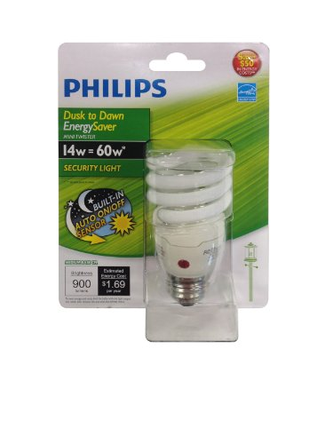 Philips Energy Saver Dusk-to-Dawn Twister Compact Fluorescent A19 Light Bulb: 820-Lumen, 2700-Kelvin, 14-Watt (60-Watt Equivalent), Medium Base CFL, Soft White