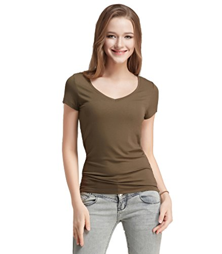 Liang Rou Women's Modal-Spandex Ribbed Stretch V-Neck Tee Olive Green L