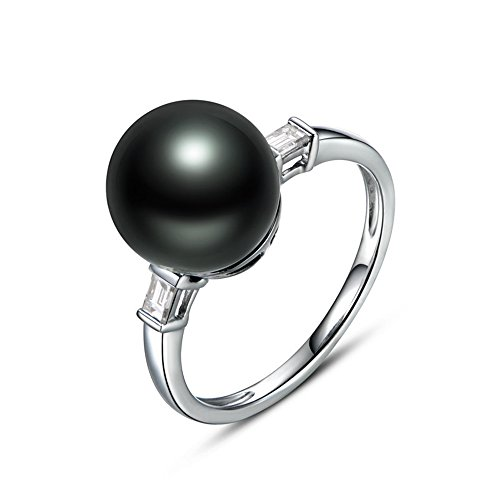 11mm Round Tahitian Black Pearl Solitaire Engagement Ring Solid 14k White Gold Baguette Diamond Rings ()