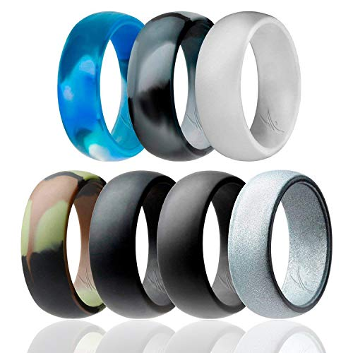 - ROQ Silicone Wedding Ring for Men Affordable Silicone Rubber Band, 7 Pack - Camo, Metal Look Silver, Black, Grey, Arctic Camo, Black Camo, Light Grey - Size 7