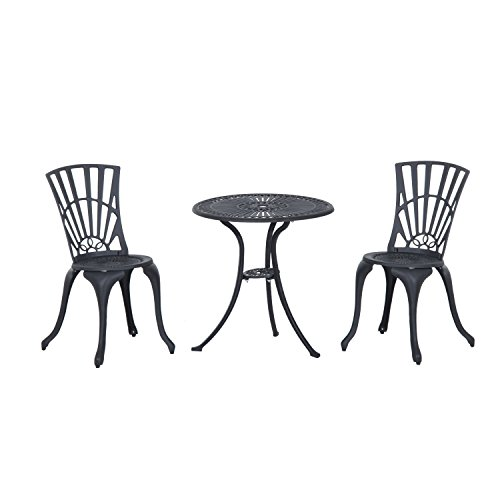 Outsunny 3 Piece Antique Style Outdoor Patio Bistro Dining Set - Black - Antique Patio Set