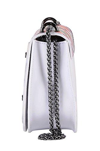 Pelle Made Bianco 100 Arcobaleno Vera Tracolla Da Italy Borderline Donna In Borsetta Bella A 7qapUv