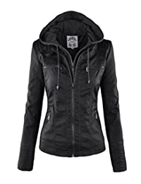 NiSeng Women's Casual Soild Zip Up Faux Leather Bomber Jacket with Hoodie