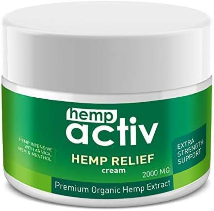 HEMPACTIV Hemp Pain Relief Cream 2000mg | Hemp + MSM + Arnica + Menthol | Relieve Muscle, Joint & Arthritis Pain | Effective Hemp Pain Cream | 2oz