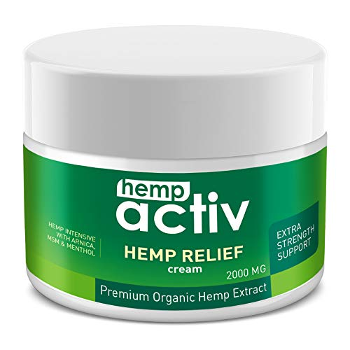 Tunnel Syndrome Pain Relief Cream - HEMPACTIV Hemp Pain Relief Cream 2000mg | Hemp + MSM + Arnica + Menthol | Relieve Muscle, Joint & Arthritis Pain | Effective Hemp Pain Cream | 2oz