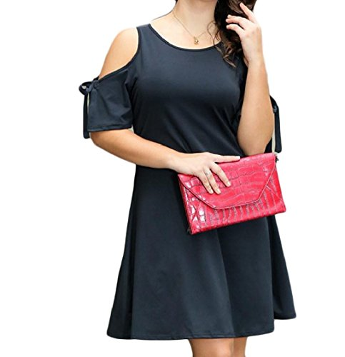 Coolred-femmes Épaule Froid Taille Plus Archet Robe De Soirée De Jardin Confortable Noir