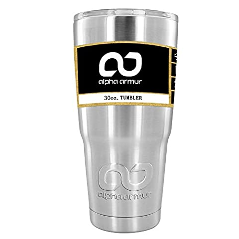 Alpha Armur 30 Oz Vacuum Insulated Tumbler Stainless Steel Hydro Travel Mug Double Wall Vacuum Insulated Stainless Steel Large Travel Coffee Mug Stainless Steel Tumbler with Clear Lid, - Silver Travel Tumbler