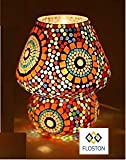 FLOSTON Mosaic Style Dome Shaped Glass Table Lamp Multicolour (Bulb not Included)