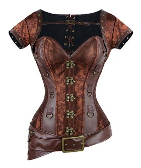 Charmian Women's Retro Goth Brocade Steampunk Overbust Corset with Jacket and Belt 4